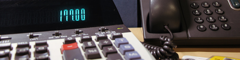 A calculator and office equipment.