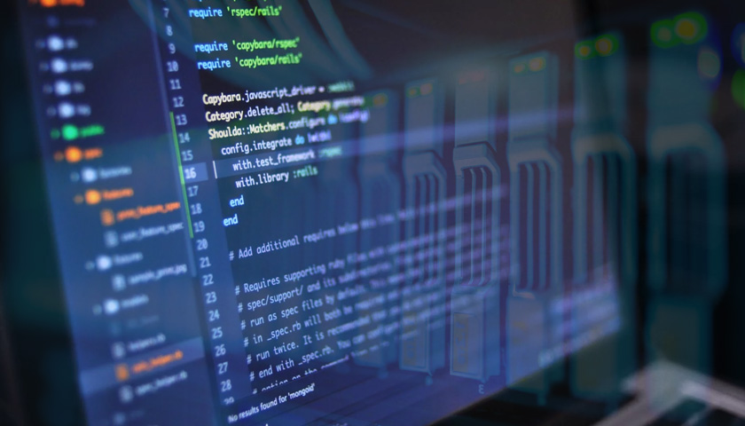Code is displayed on a computer screen