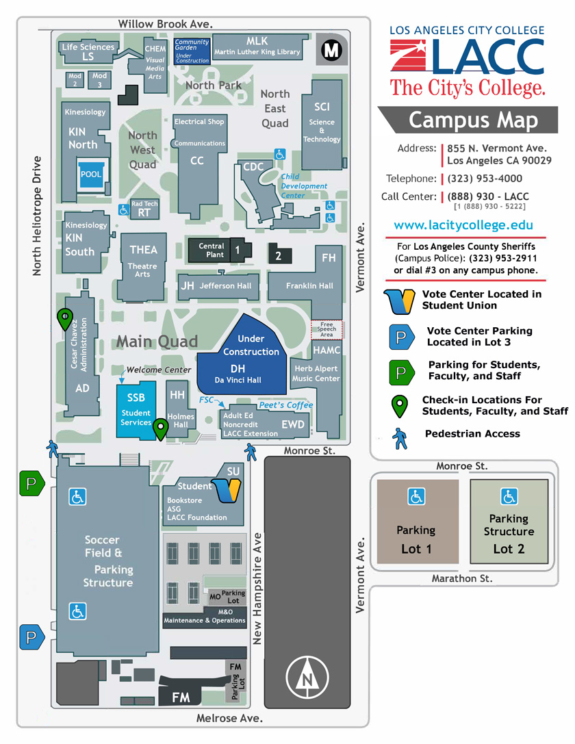 The LACC Campus Map with voting information. The Vote Center is located on the first floor of the Student Union Building.