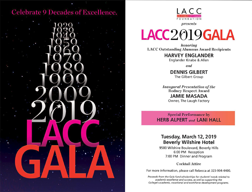 Flyer for the 2019 LACC Gala, click to download PDF