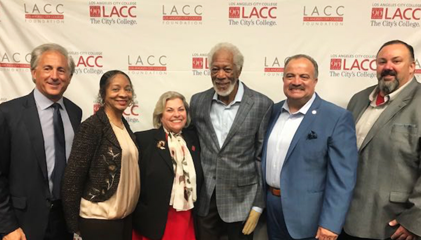 Actor Morgan Freeman with representatives from LACC, LACCD, the LACC Foundation