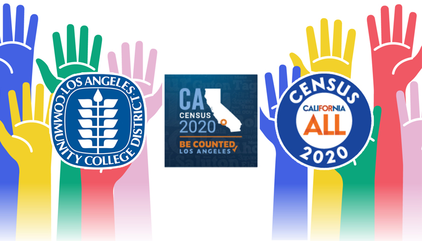 Hands raised to be counted. Logos for LACCD and the 2020 California Census