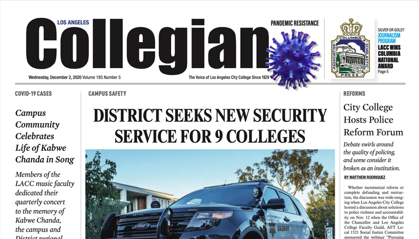 Cover for the December issue of the LACC Collegian