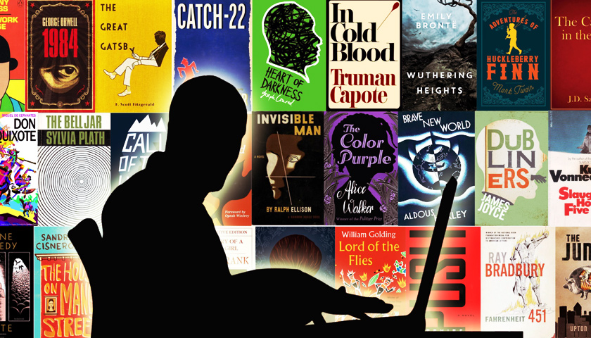 A writer is silhouetted against a background of famous novels