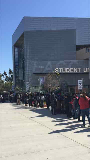 Students in line for the pop Up Food Bank