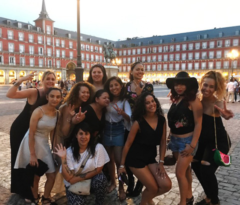 Students enjoying themselves in Spain