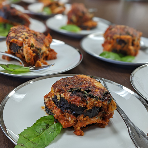 Eggplant parmesan created by LACC students