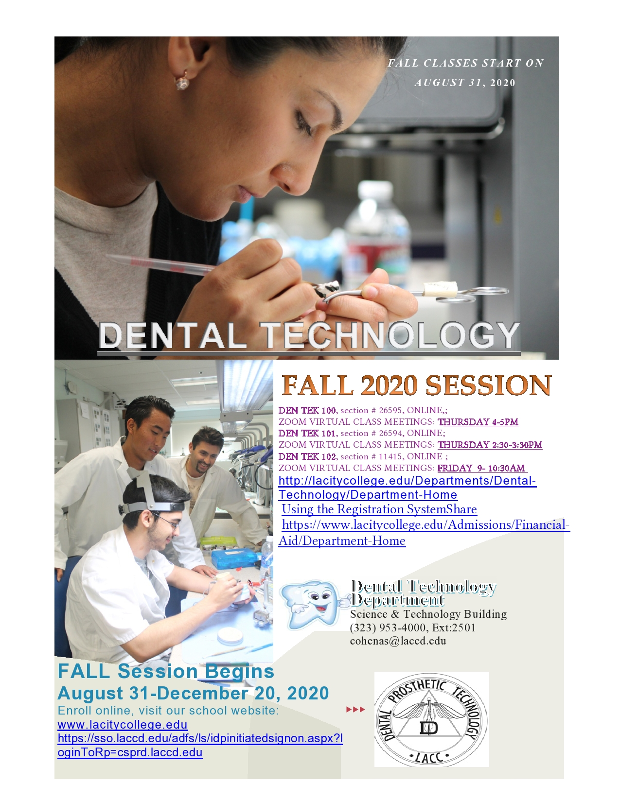 Dental Tech Classes 2020
