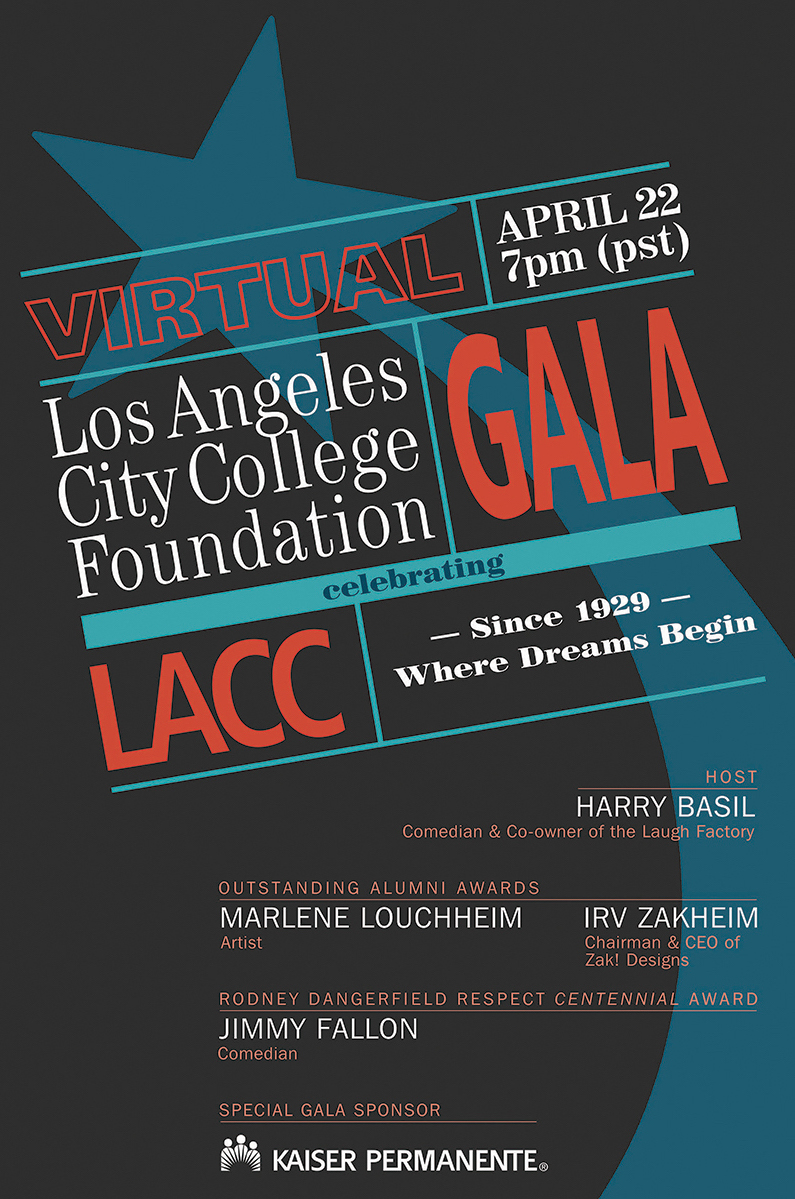 Flyer for the 2021 Los Angeles City College Foundation Virtual Gala