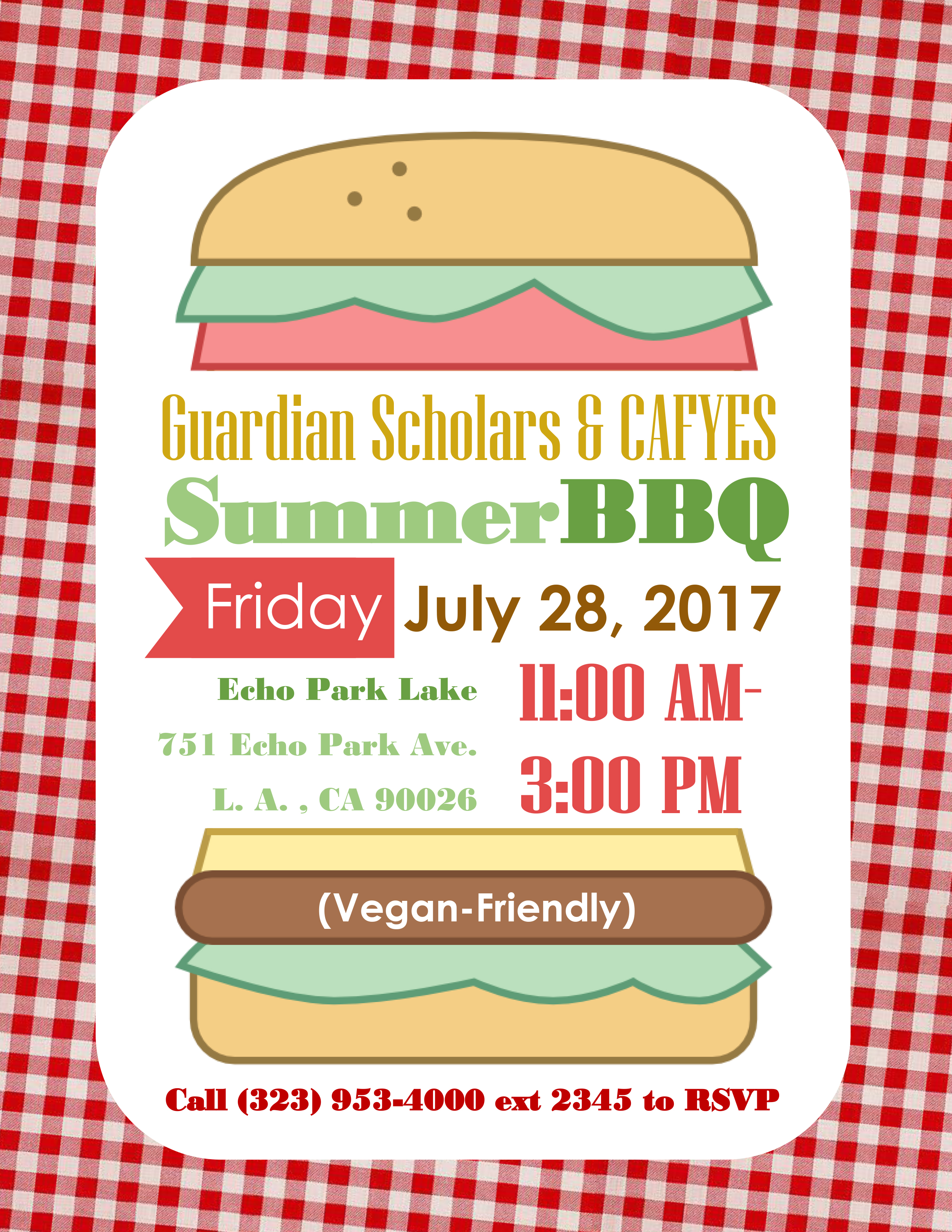 Our Summer Barbecue Flyer, with the date, Friday, July 28, time, 11:00 AM - 3:00 PM, and place, Echo Park Lake