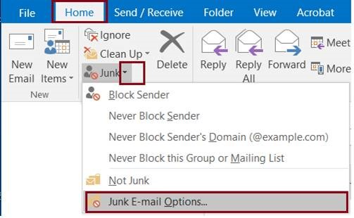 Accessing the Junk Email Menu in Outlook