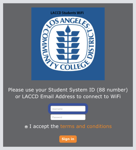 The LACC-Student Wireless Login Page