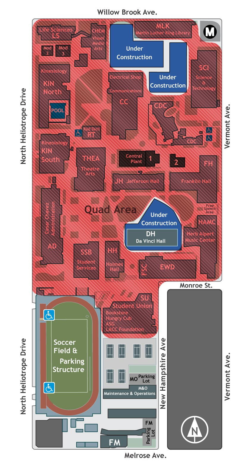 Map of Wireless Coverage on LACC Campus.