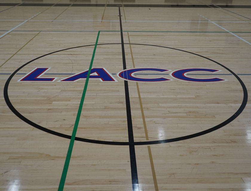 The LACC Logo at center court