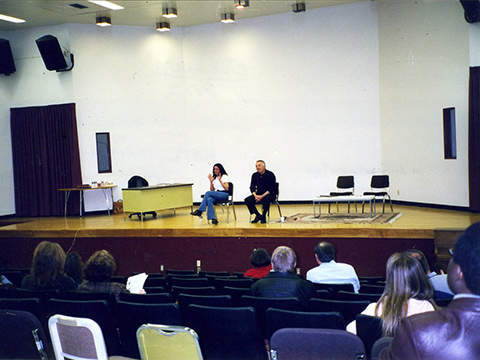 The actors conduct a question and answer session after the performance
