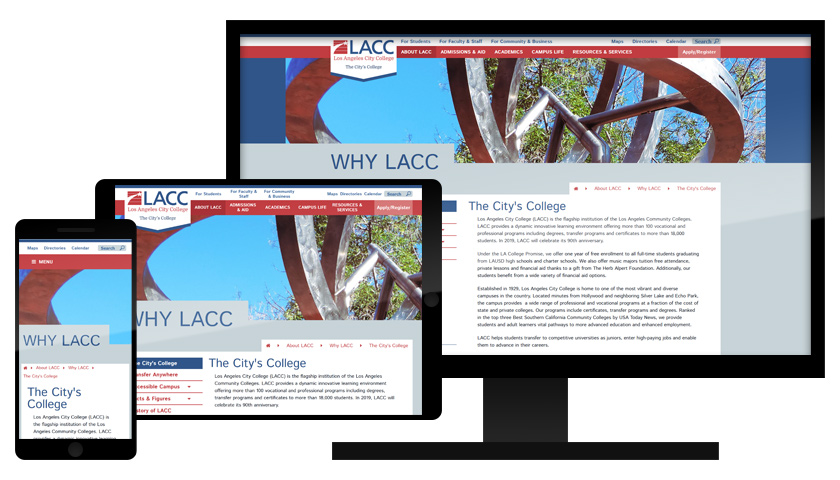 The newly redesigned LACC Website as it appears on smartphones, tablets, and desktop screens.