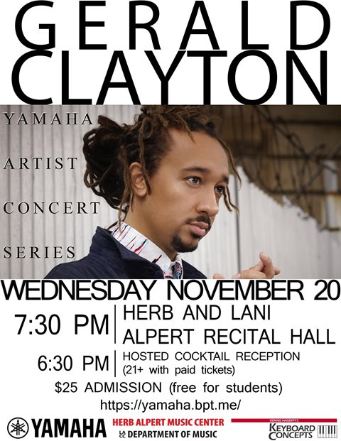 Yamaha Concert Series: Gerald Clayton - 11/20/19 7:30pm. Click here for more information.
