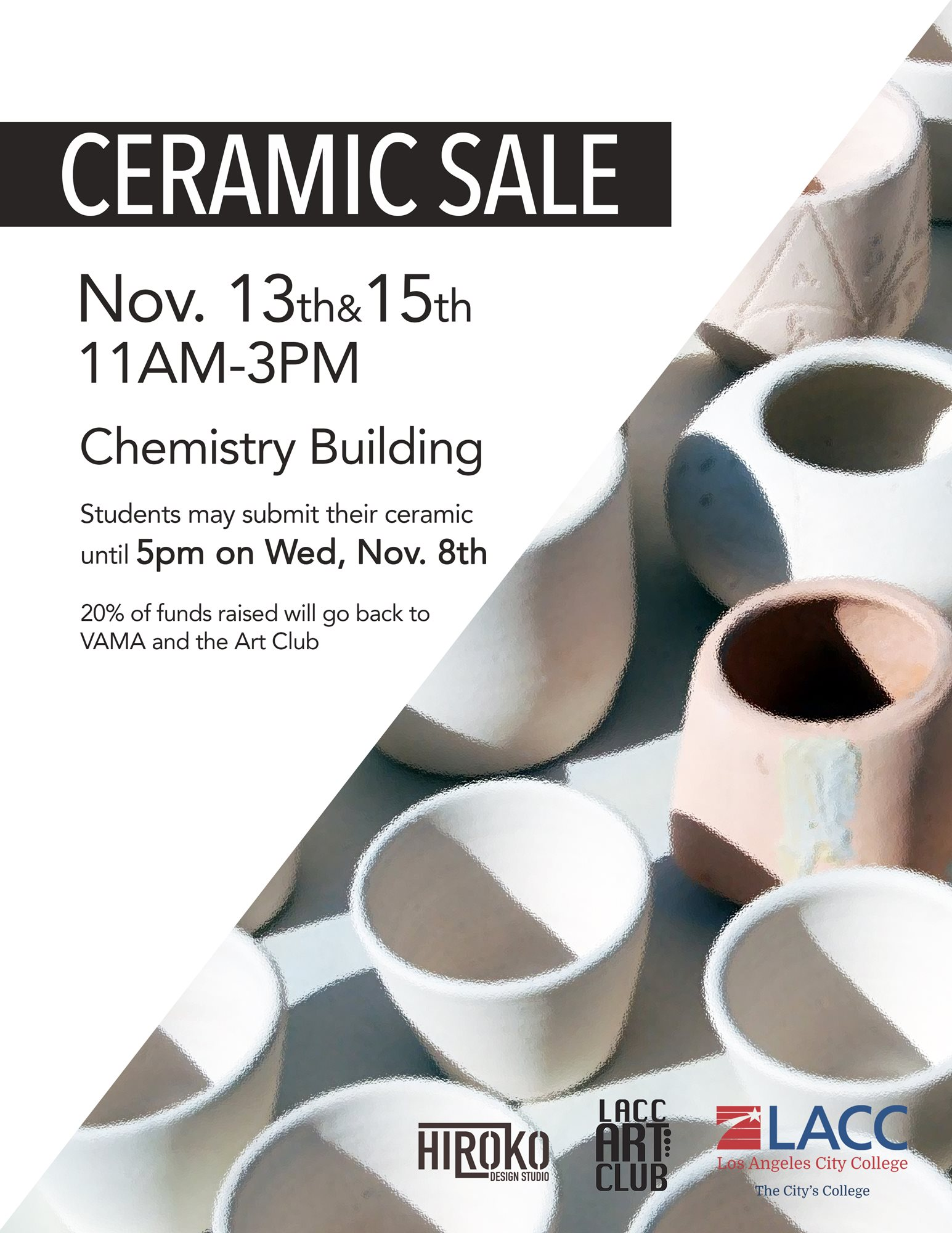 Ceramic Sale Poster - November 13 and 14, 11am to 3pm Chemistry Building