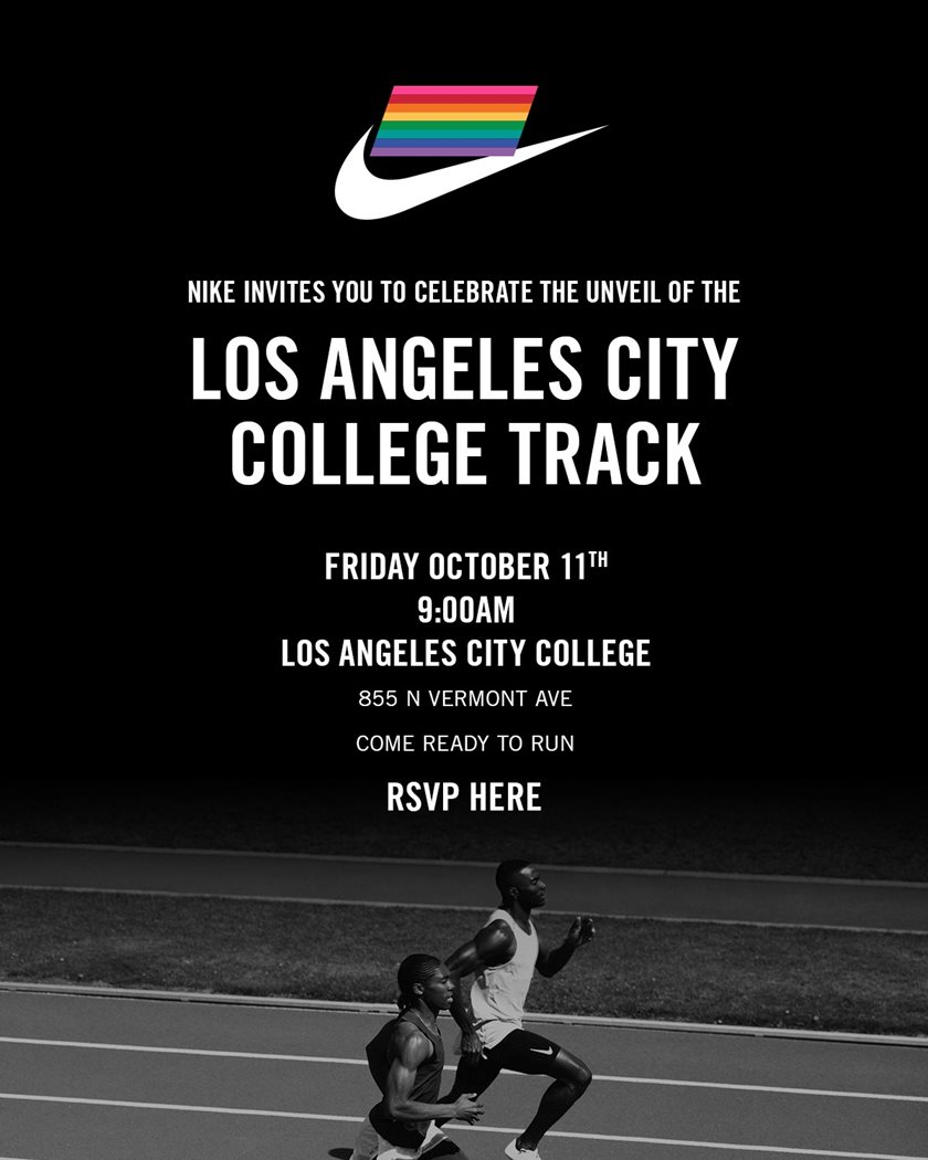 Nike x LACC track unveiling flyer. Friday October 11th at 9:00am.