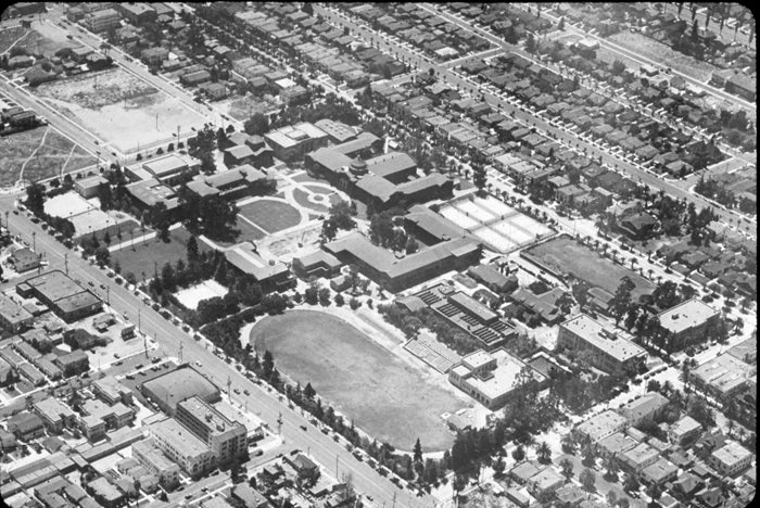 The original LACC campus, as seen from above.